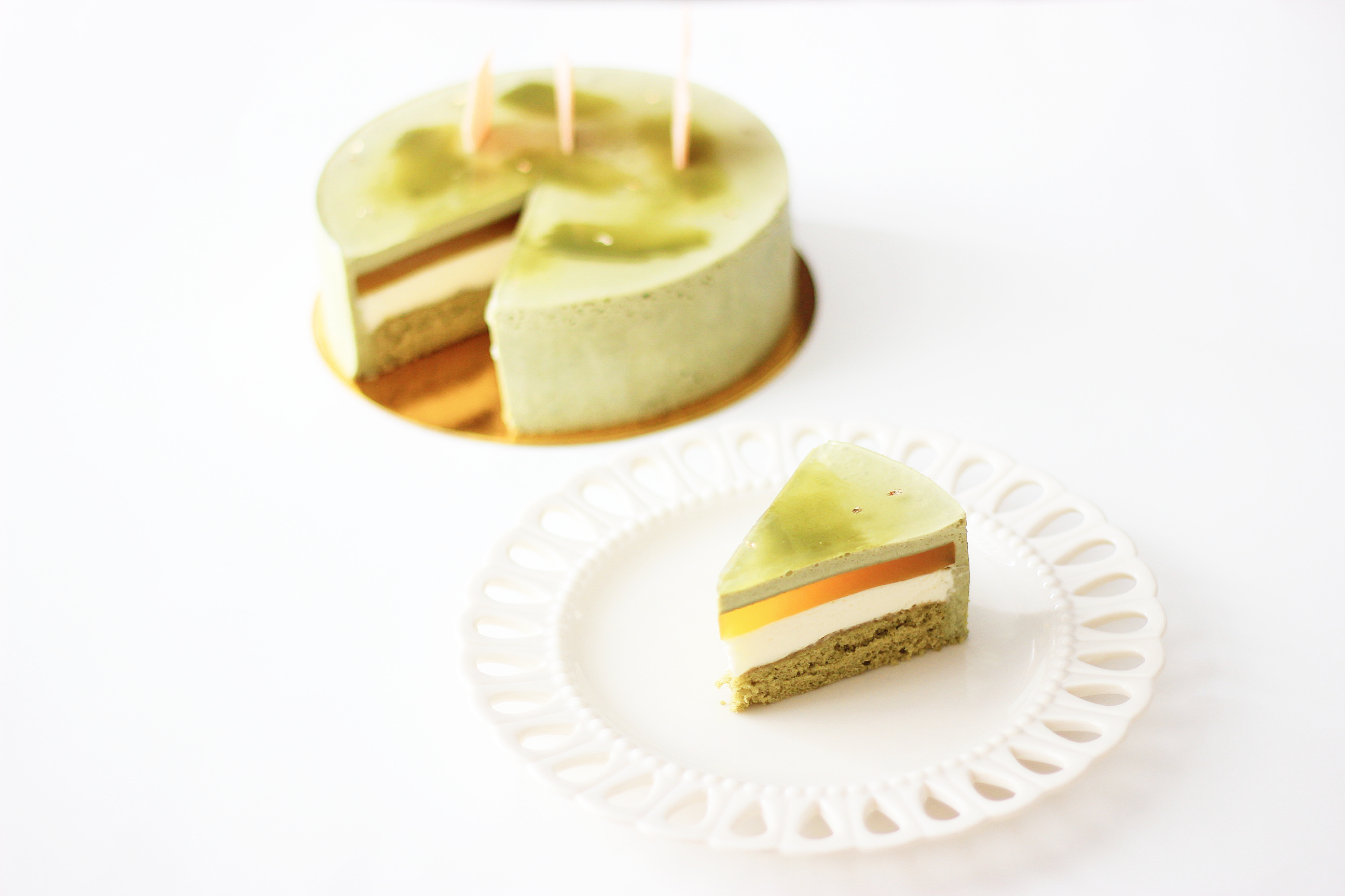 Green Tea Mango White Chocolate Entremet
